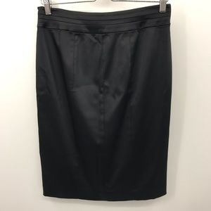 WHBM 6 Black Satin Pencil Skirt